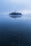 Misty morning in lake Bled Royalty Free Stock Photography