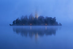 Misty morning in lake Bled Stock Image