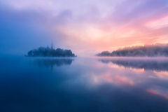 Misty morning in lake Bled Stock Photos