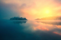 Misty morning in lake Bled Royalty Free Stock Images