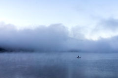 Misty in the morning at Lake Kawakuchi. Japan Royalty Free Stock Photography