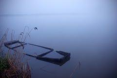 Misty morning by the lake. Misty morning by the mistic lake stock photos