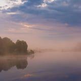 Misty morning on the lake. Royalty Free Stock Image
