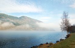 misty morning by the lake, Sweden Stock Image
