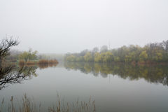 Misty Morning Lake. A thick early morning fog on this lake Royalty Free Stock Photo
