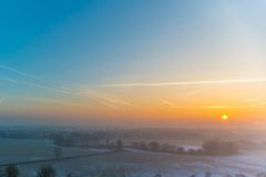 Misty morning light over the lanscape near Nuremberg in Germany Royalty Free Stock Image
