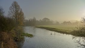 Misty morning light on the River Meon near Exton, South Downs National Park, Hampshire, UK stock photo