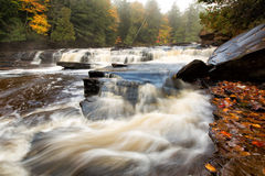 Misty Morning at Manido Falls - Upper Peninsula of Michigan Stock Photography