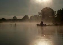 Misty Morning. Moksha River, Mordovia, Russian Federation Stock Photo