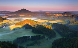 Misty morning in nice mountain Stock Images