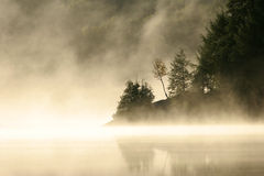Misty Morning on a Northern Lake Royalty Free Stock Images