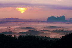 Misty morning at Panorama Hill. Royalty Free Stock Photos