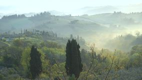 Misty morning panorama from the San Gimignano walls. Toscana, Italy stock video footage