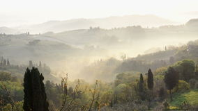 Misty morning panorama from the San Gimignano walls, Toscana, Italy stock video