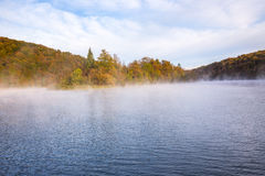 Misty morning on Plitvice lakes Royalty Free Stock Images