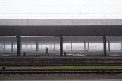 Misty morning at the Railway station Stock Photography