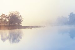 Misty Morning by River Royalty Free Stock Photo