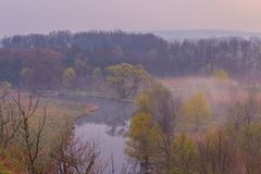 Misty morning on the river Royalty Free Stock Photography