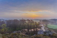 Misty morning on the river Stock Image