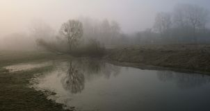 Misty morning on the river. Dawn.  royalty free stock photo