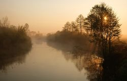 Misty morning on the river. Dawn.  royalty free stock photography