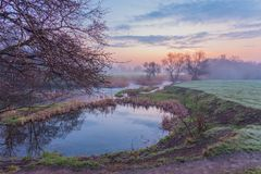 Misty morning on the river Royalty Free Stock Photos