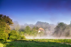 Misty morning on the river. Foggy River landscape Stock Photography