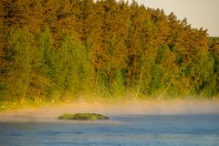 Misty morning by the river and forest. Misty morning by the river. Neris regional park in Lithuania stock images