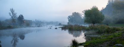 Misty Morning on river. Misty Morning on the Southern Bug River stock photos