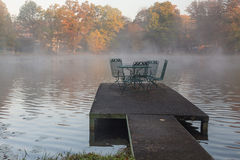 Misty morning on the Rock Lake, West Virginia Stock Photo