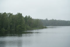 Misty morning on scandinavian lake with rain ripples on water Royalty Free Stock Photos