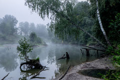 Misty morning on a small river in russia. Stock Images