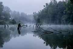 Misty morning on a small river in russia. Stock Image