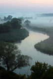 Misty morning on a small river. In Ukraine Stock Image