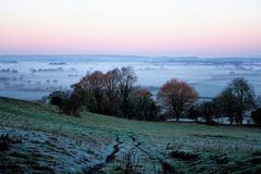 Misty morning in Somerset. Misty frosty morning looking out over fields of Somerset levels Royalty Free Stock Photo