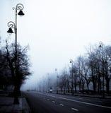 Misty morning street Stock Photos