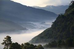 Misty morning sunrise at Doi Ang-khang mountain, chiangmai : tha Stock Photo