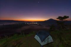 Misty morning sunrise in Khao Takhian Ngo View Point at Khao-kho. Phetchabun,Thailand Royalty Free Stock Photo