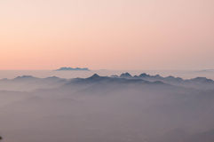 Misty morning sunrise in mountain at  Doi Phahompok national par Royalty Free Stock Photography