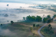Misty morning sunrise in mountain at Khao-kho Phetchabun,Thailan royalty free stock photos