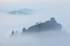 Misty Morning in Szech Switzerland. Observation Vilemina in Czech Switzerland, blurred by fog in typical mistery morning Royalty Free Stock Photos