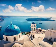 Free Misty Morning View Of Santorini Island. Picturesque Spring Scene Of The Famous Greek Resort Fira, Greece, Europe Stock Photos - 159460343