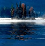 Misty Morning Water Reflection Stock Photo