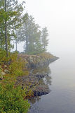 Misty Morning on a Wildereness Lake Royalty Free Stock Photos
