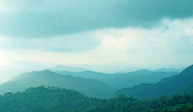 Misty mountain hills landscape, layers of mountains Stock Photography