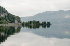 Misty mountain lake Stock Photo
