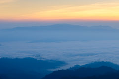 Misty Mountain at morning, Huay nam dang,Thailand Stock Photo