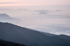 Misty mountain panorama from Chata pod Chlebom in Mala Fatra mountains in Slovakia Stock Photo