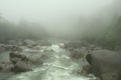 Misty mountain river Royalty Free Stock Image