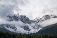 Misty mountain scene in Dolomites mountain Royalty Free Stock Photo
